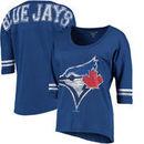 Toronto Blue Jays 5th & Ocean by New Era Women's MLB Slub 3/4 Sleeve Scoop With Hi Lo Hem T-Shirt - Heathered Royal