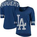 Los Angeles Dodgers 5th & Ocean by New Era Women's MLB Slub 3/4 Sleeve Scoop With Hi Lo Hem T-Shirt - Heathered Royal