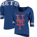 New York Mets 5th & Ocean by New Era Women's MLB Slub 3/4 Sleeve Scoop With Hi Lo Hem T-Shirt - Heathered Royal