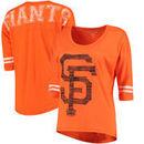 San Francisco Giants 5th & Ocean by New Era Women's MLB Slub 3/4 Sleeve Scoop With Hi Lo Hem T-Shirt - Heathered Orange
