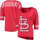 St. Louis Cardinals 5th & Ocean by New Era Women's MLB Slub 3/4 Sleeve Scoop With Hi Lo Hem T-Shirt - Heathered Red
