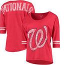 Washington Nationals 5th & Ocean by New Era Women's MLB Slub 3/4 Sleeve Scoop With Hi Lo Hem T-Shirt - Heathered Red