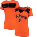 San Francisco Giants 5th & Ocean by New Era Women's MLB Slub V-Neck With Contrast Inserts T-Shirt - Heathered Orange