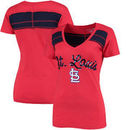 St. Louis Cardinals 5th & Ocean by New Era Women's MLB Slub V-Neck With Contrast Inserts T-Shirt - Heathered Red