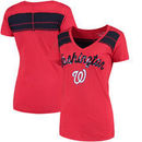 Washington Nationals 5th & Ocean by New Era Women's MLB Slub V-Neck With Contrast Inserts T-Shirt - Heathered Red