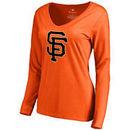 San Francisco Giants Women's Secondary Color Primary Logo Long Sleeve T-Shirt - Orange