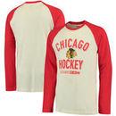 Chicago Blackhawks CCM Team Logo Tri-Blend Raglan Long Sleeve T-Shirt - Cream/Red