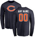 Chicago Bears NFL Pro Line Any Name & Number Logo Personalized Long Sleeve T-Shirt - Navy