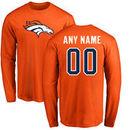Denver Broncos NFL Pro Line Any Name & Number Logo Personalized Long Sleeve T-Shirt - Orange