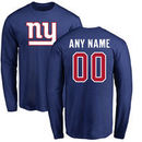 New York Giants NFL Pro Line Any Name & Number Logo Personalized Long Sleeve T-Shirt - Royal