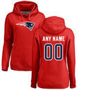 New England Patriots NFL Pro Line Women's Personalized Name & Number Logo Pullover Hoodie - Red