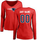 New England Patriots NFL Pro Line Women's Personalized Name & Number Logo Long Sleeve T-Shirt - Red