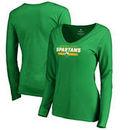Norfolk State Spartans Fanatics Branded Women's Team Strong Long Sleeve V-Neck T-Shirt - Kelly Green