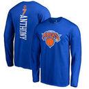 Carmelo Anthony New York Knicks Backer Name & Number Long Sleeve T-Shirt - Royal
