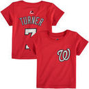 Trea Turner Washington Nationals Majestic Toddler Player Name and Number T-Shirt - Red