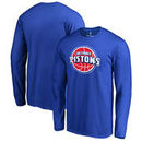 Detroit Pistons Fanatics Branded Big & Tall Primary Logo Long Sleeve T-Shirt - Blue