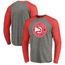 Atlanta Hawks Fanatics Branded Primary Logo Raglan Long Sleeve T-Shirt - Heathered Gray