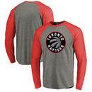 Toronto Raptors Fanatics Branded Primary Logo Raglan Long Sleeve T-Shirt - Heathered Gray