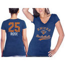 New York Knicks Derrick Rose Majestic Threads Women's Name & Number Tri-Blend V-Neck T-Shirt - Blue