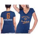 New York Knicks Kristaps Porzingis Majestic Threads Women's Name & Number Tri-Blend V-Neck T-Shirt - Blue