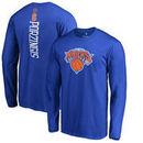 Kristaps Porzingis New York Knicks Backer Name & Number Long Sleeve Team T-Shirt - Royal