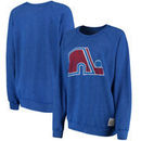 Quebec Nordiques Original Retro Brand Women's Vintage Tri-Blend Pullover Sweatshirt - Royal