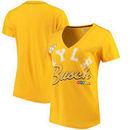 Kyle Busch G-III Sports by Carl Banks Women's Homefield Slub V-Neck T-Shirt - Yellow