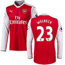 Danny Welbeck Arsenal Puma 2016/17 Home Replica Patch Long Sleeve Jersey - Red