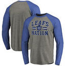 Toronto Maple Leafs Hometown Collection Leafs Nation Tri-Blend Raglan Long Sleeve T-Shirt - Ash/Royal