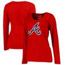 Atlanta Braves Women's Plus Sizes Primary Team Logo Long Sleeve T-Shirt - Red