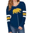 Cal Bears Original Retro Brand Women's Sleeve Striped Henley Long Sleeve T-Shirt - Navy