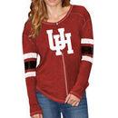 Houston Cougars Original Retro Brand Women's Sleeve Striped Henley Long Sleeve T-Shirt - Red