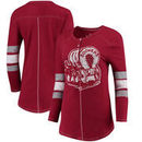 Oklahoma Sooners Original Retro Brand Women's Sleeve Striped Henley Long Sleeve T-Shirt - Crimson