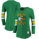 Oregon Ducks Original Retro Brand Women's Sleeve Striped Henley Long Sleeve T-Shirt - Kelly Green