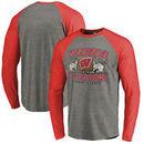 Wisconsin Badgers Fanatics Branded 2017 Cotton Bowl Bound Prime Raglan Long Sleeve T-Shirt - Heather Gray