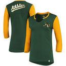 Oakland Athletics Majestic Women's Above Average Three-Quarter Sleeve V-Notch T-Shirt - Green/Yellow