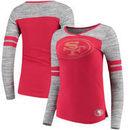 San Francisco 49ers Women's Juniors Secret Fan Long Sleeve Football T-Shirt - Scarlet/Heathered Gray