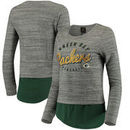 Green Bay Packers Women's Juniors Shirt Tail Layered Long Sleeve T-Shirt - Heathered Gray/Green