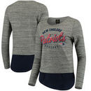 New England Patriots Women's Juniors Shirt Tail Layered Long Sleeve T-Shirt - Heathered Gray/Navy