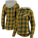 Green Bay Packers Girls' Junior Dream Plaid Hoodie Shirt - Gold