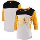 Pittsburgh Steelers Hands High Women's Season Pass 3/4-Sleeve T-Shirt - White/Gold