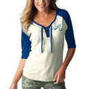 Indianapolis Colts Touch by Alyssa Milano Women's Perfect Game Lace Up 3/4-Sleeve Raglan T-Shirt - White/Royal