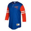 New York Mets Mitchell & Ness Home Stretch 3/4-Sleeve Henley T-Shirt - Royal/Orange