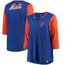 New York Mets Majestic Women's Plus Size Above Average 3/4-Sleeve Raglan T-Shirt - Royal/Orange