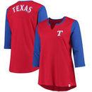 Texas Rangers Majestic Women's Plus Size Above Average 3/4-Sleeve Raglan T-Shirt - Red/Royal