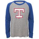 Texas Rangers Majestic Youth Two to One Margin Long Sleeve Raglan T-Shirt - Gray