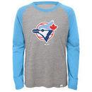 Toronto Blue Jays Majestic Youth Two to One Margin Long Sleeve Raglan T-Shirt - Gray