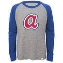 Atlanta Braves Majestic Youth Two to One Margin Long Sleeve Raglan T-Shirt - Gray