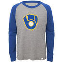 Milwaukee Brewers Majestic Youth Two to One Margin Long Sleeve Raglan T-Shirt - Gray