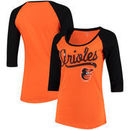 Baltimore Orioles 5th & Ocean by New Era Women's Baby Jersey 3/4-Sleeve Raglan T-Shirt - Orange/Black